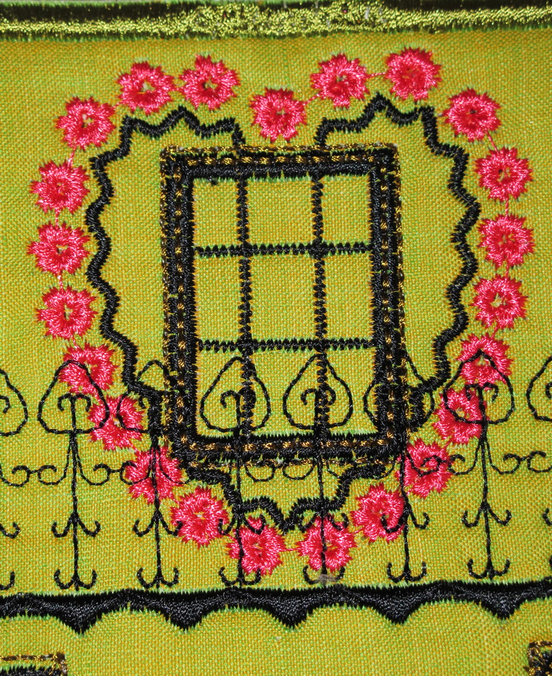 Country Chic Machine Embroidery Designs by Stitchingart. Plastic bag holder, country style with house, love heart windows, fencing, flowers in pot.