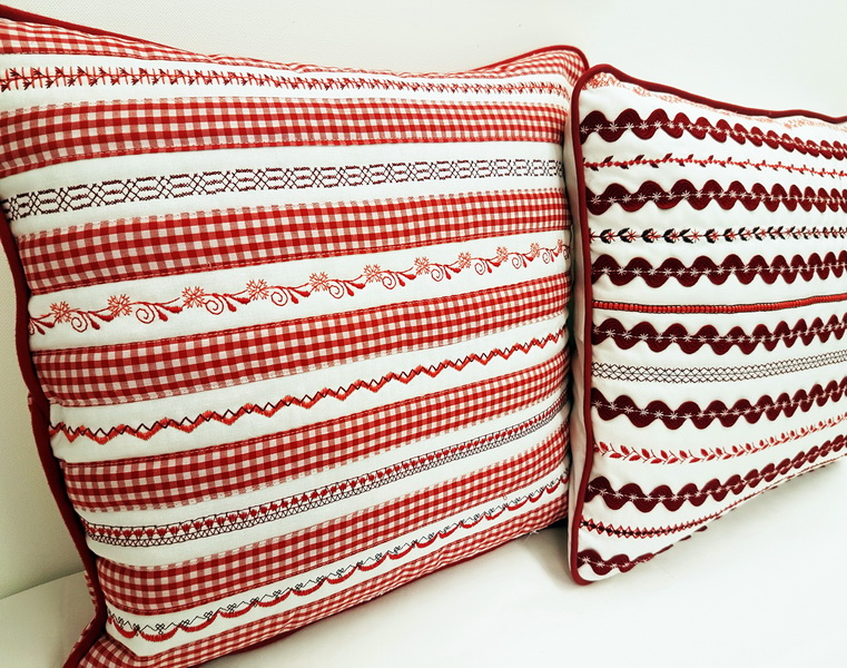 Decorative stitches cushion. How to use and what to do with decorative stitches on your sewing machine.
