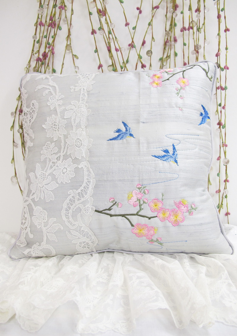 Kyoto Garden Machine Embroidery Designs by Stitchingart. Cushion with birds and Blossom Flowers. Japanese Kyoto Style.