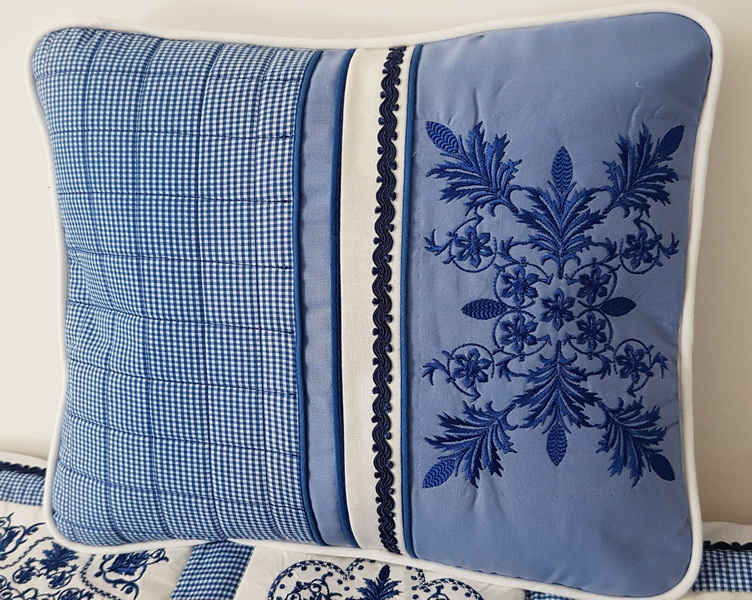Panache Machine Embroidery Designs by Stitchingart. Floral pretty decorative blue cushion