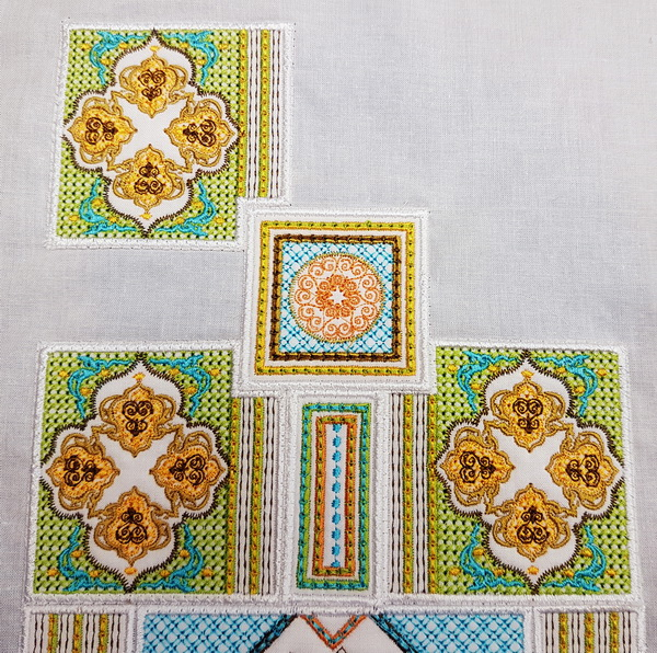 Sorbet Shades Machine Embroidery Designs by Cathy Park. Sorbet Shades machine embroidery design instructions, laying out designs.