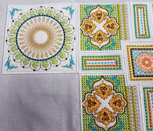 Sorbet Shades Machine Embroidery Designs by Cathy Park. Sorbet Shades machine embroidery design instructions, laying out  and stitching designs.