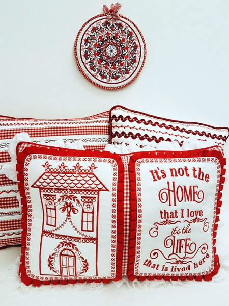 Pillow Talk Machine Embroidery Designs by Stitchingart. Its not the home that I love. It's the life that has lived here. House and wall hanging cushion.