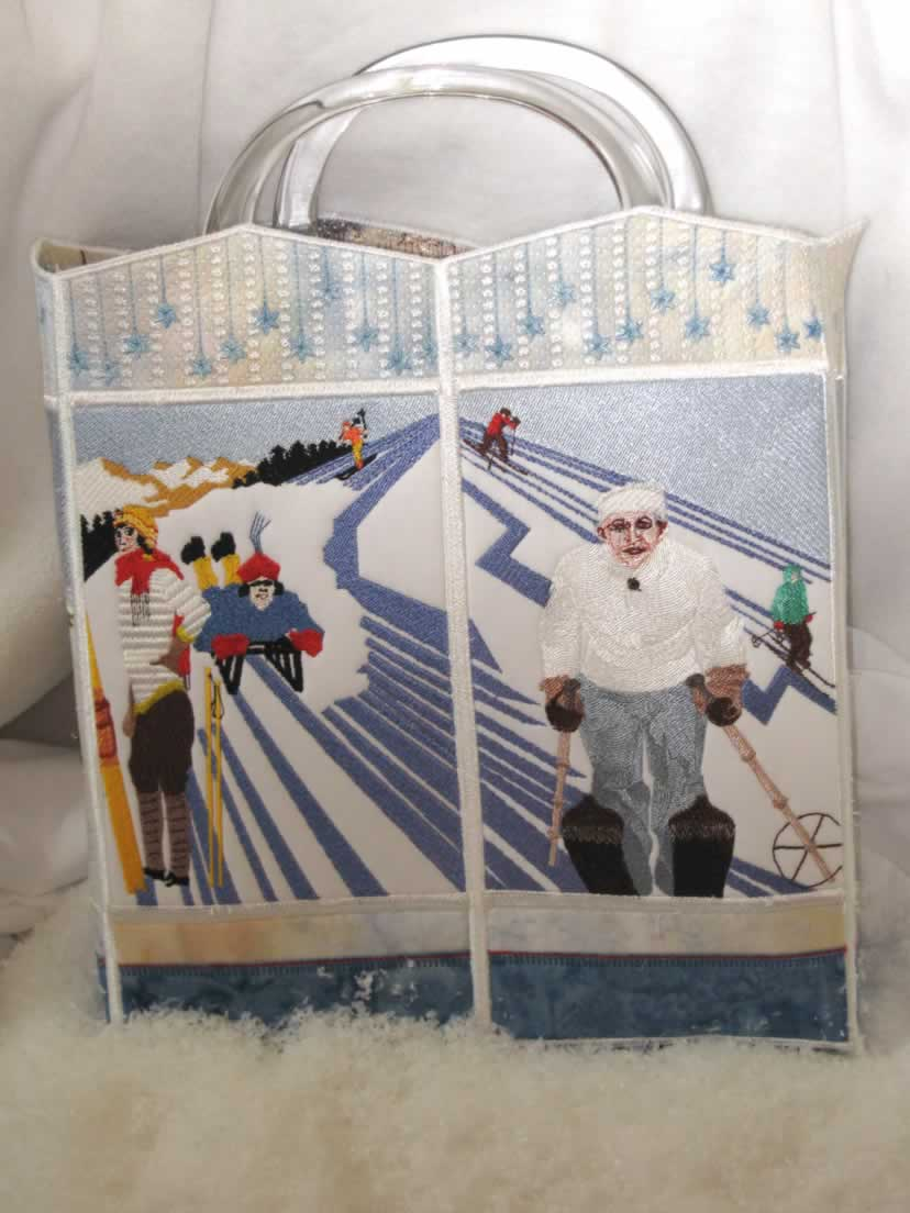 Winter Wonderland Machine Embroidery Designs. Bag. Ice Skating and skiing.