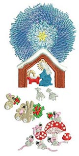 Wonder Machine Embroidery Designs by Stitchingart. Easter and religious christmas set. With deer, squirrels, owls, bunnies and animals around mary