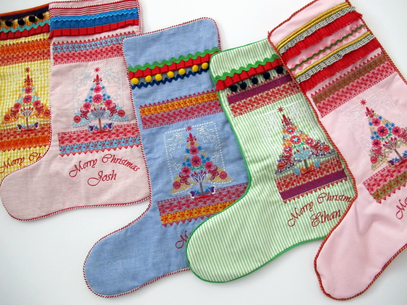 Christmas 2016 Machine Embroidery Designs, Christmas Stockings with decorative Christmas trees.