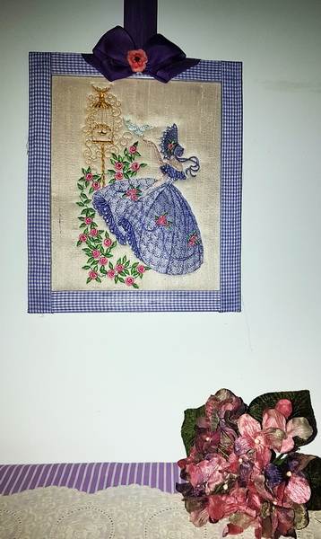 Crinoline Lady Machine Embroidery Designs by Stitchingart. Embroidered picture of lady with old fashioned dress and bonnet.