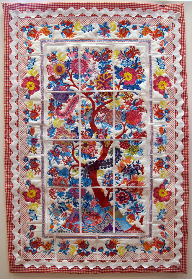 Down to Earth Machine Embroidery Designs by Stitchingart. Wall hanging, quilted with flowers and tree of life.