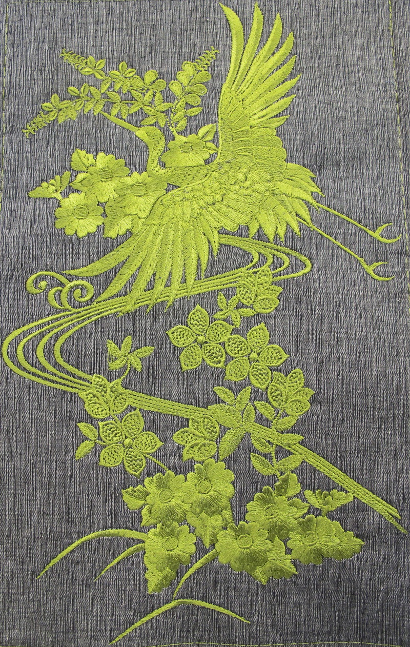 Hiroto Machine Embroidery Designs. Bag with bird and flowers. Japanese style design.