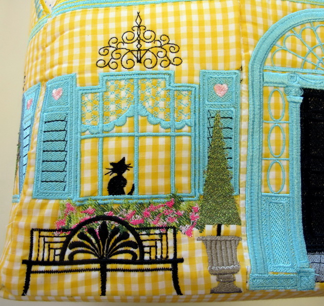 Let's Sew Machine Embroidery Designs. Childrens toy box with houses, windows, georgian style.