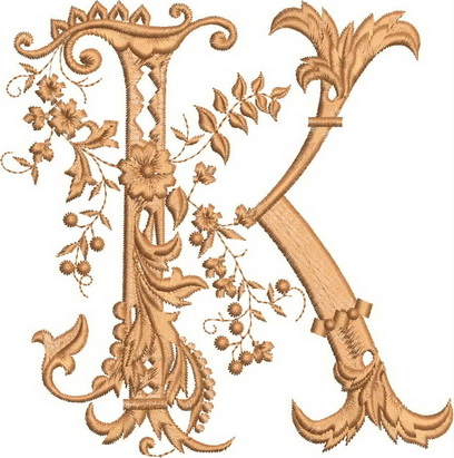 Monograms Machine Embroidery Designs. Letter K