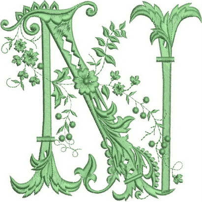 Monograms Machine Embroidery Designs. Letter N
