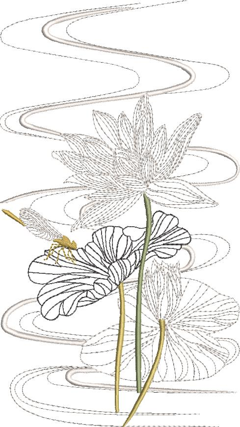 Morning Celebration Machine Embroidery Designs Designs by Stitchingart. Embroidered lotus flower, dragonfly on dress.