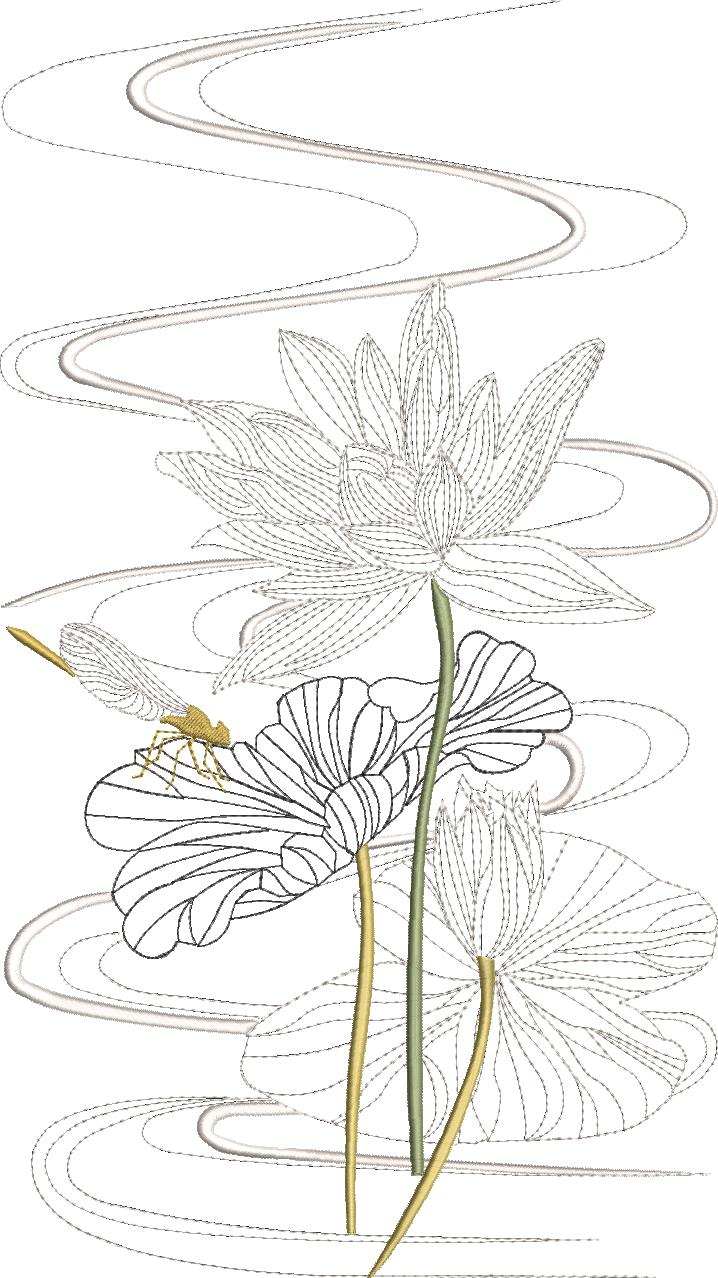 Morning Celebration Machine Embroidery Designs Designs by Stitchingart. Embroidered lotus flower and dragonfly.