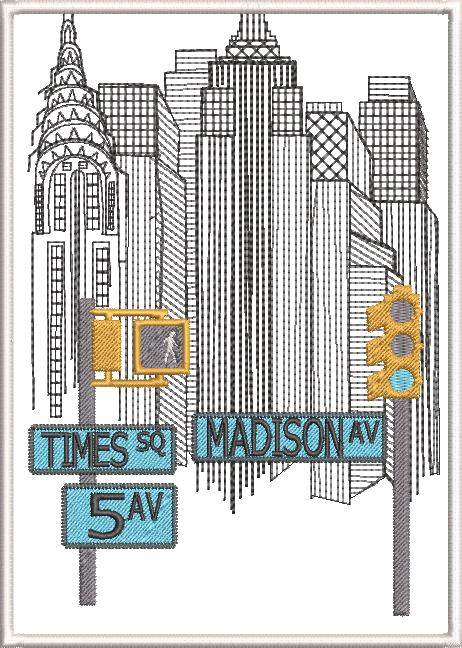 New York Machine Embroidery Designs by Stitchingart. New York buildings, Madison Square, 5th Ave, Times Square.