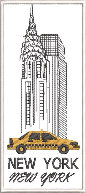 New York Machine Embroidery Designs by Stitchingart. New York buildings, yellow taxi cab, New York, New York.