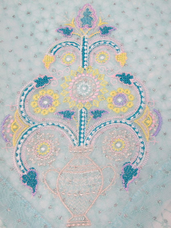 Pastel Machine Embroidery Designs. Beautiful flower in vase wall hanging.