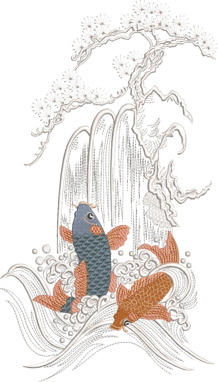 Spring of Life Machine Embroidery Design. Koi, waterfall and blossom tree.