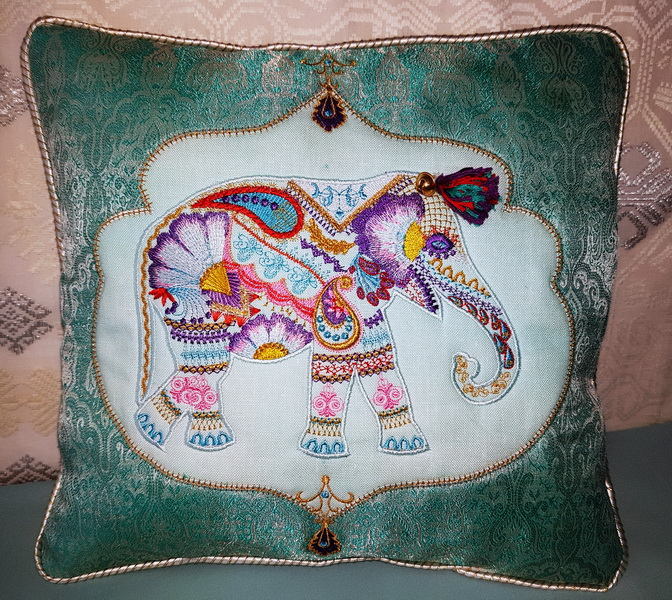 Wild and Free Machine Embroidery Designs by Stitchingart. Embroidered floral cushion.